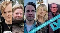 Fem långsmala porträtt av de nominerade till Sveriges radios novellpris hopfogade till en gemensam bild.