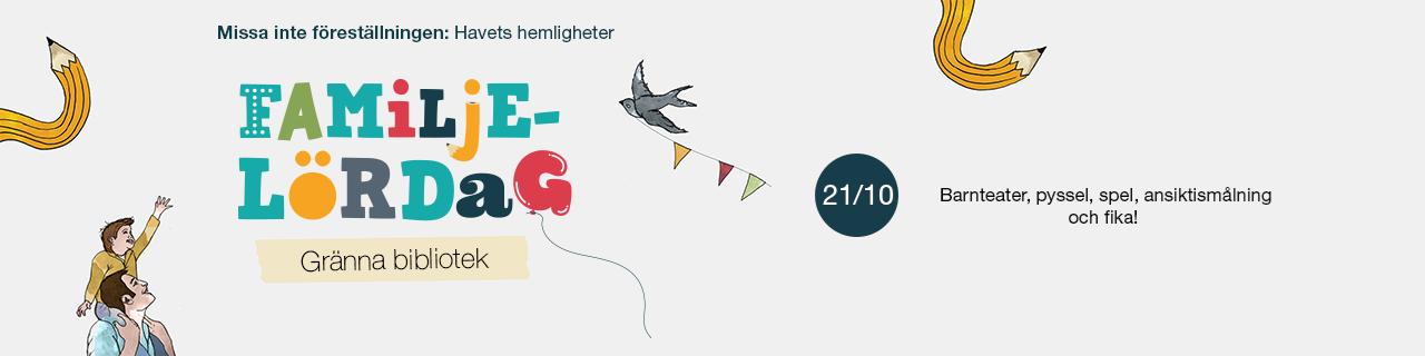 Familjelördag på Gränna bibliotek den tjugoförsta oktober. Missa inte föreställningen: Havets hemligheter. Barnteater, pyssel, spel, ansiktsmålning och fika!