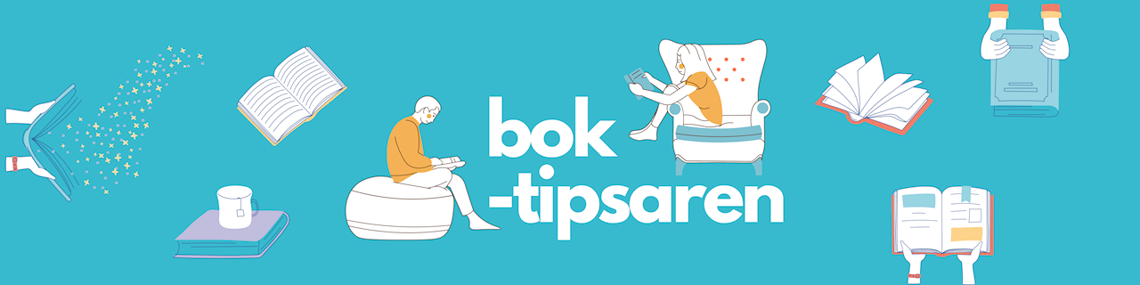 Boktipsaren. Logotype. Två läsande ungdomar försjunkna i varsin bok. Böcker fyllda av magi.